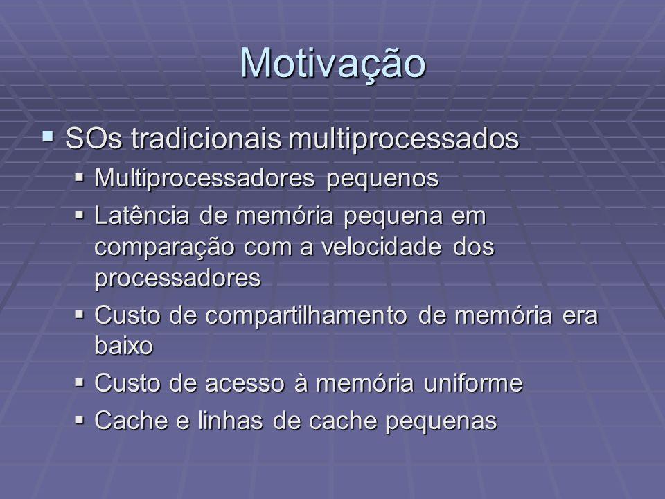 Motivação SOs tradicionais multiprocessados SOs tradicionais multiprocessados Multiprocessadores pequenos Multiprocessadores pequenos Latência de memó
