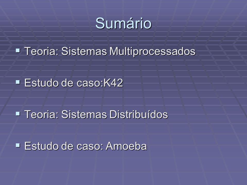 Sumário Teoria: Sistemas Multiprocessados Teoria: Sistemas Multiprocessados Estudo de caso:K42 Estudo de caso:K42 Teoria: Sistemas Distribuídos Teoria