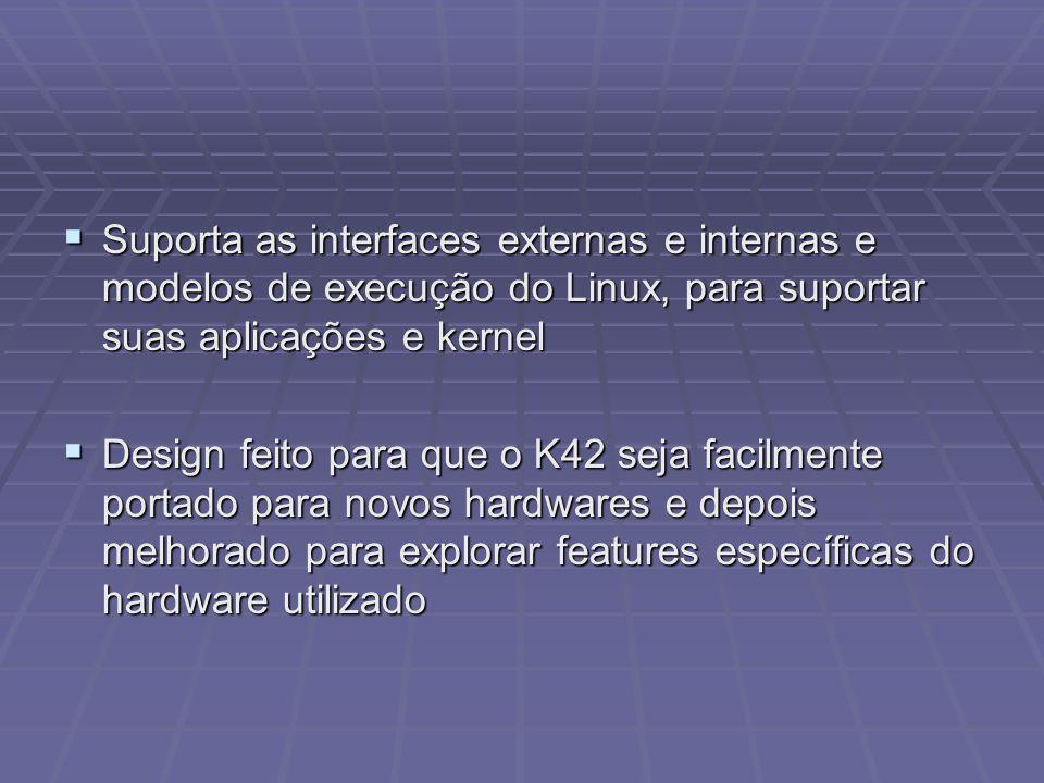 Suporta as interfaces externas e internas e modelos de execução do Linux, para suportar suas aplicações e kernel Suporta as interfaces externas e inte