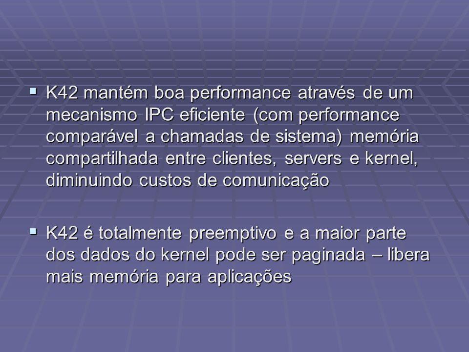 K42 mantém boa performance através de um mecanismo IPC eficiente (com performance comparável a chamadas de sistema) memória compartilhada entre client