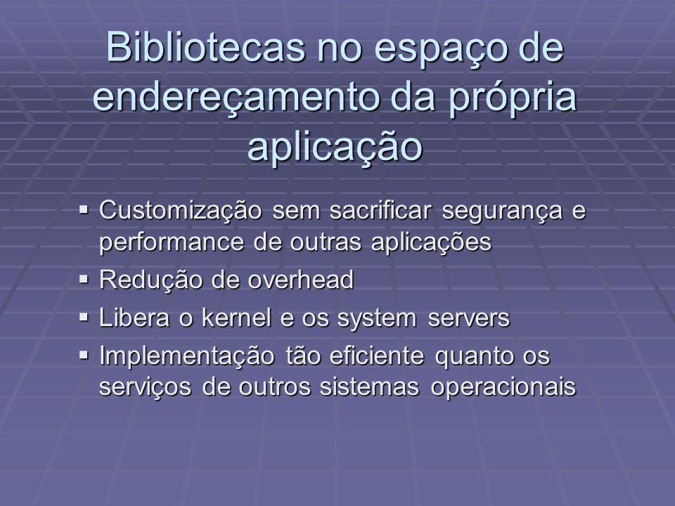 Bibliotecas no espaço de endereçamento da própria aplicação Customização sem sacrificar segurança e performance de outras aplicações Customização sem