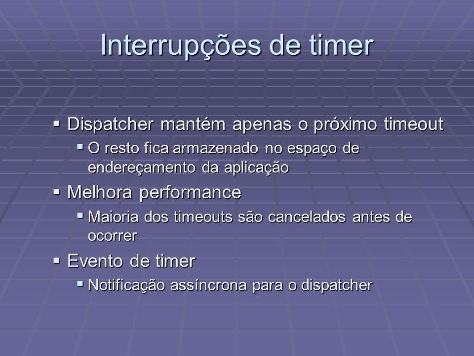 Interrupções de timer Dispatcher mantém apenas o próximo timeout Dispatcher mantém apenas o próximo timeout O resto fica armazenado no espaço de ender
