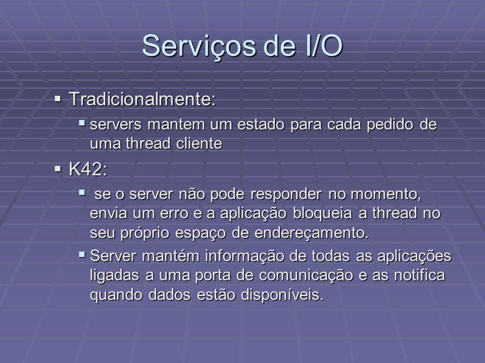 Serviços de I/O Tradicionalmente: Tradicionalmente: servers mantem um estado para cada pedido de uma thread cliente servers mantem um estado para cada