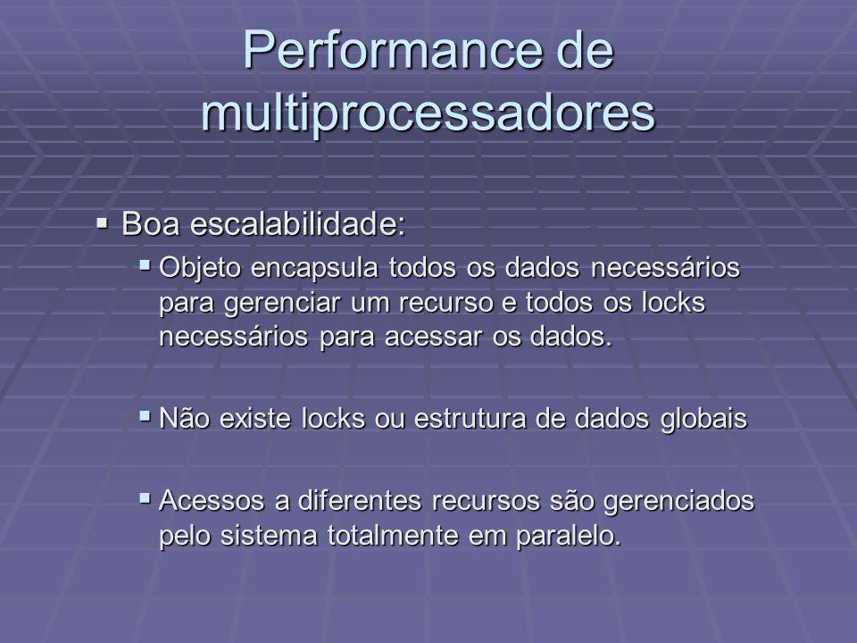 Performance de multiprocessadores Boa escalabilidade: Boa escalabilidade: Objeto encapsula todos os dados necessários para gerenciar um recurso e todo