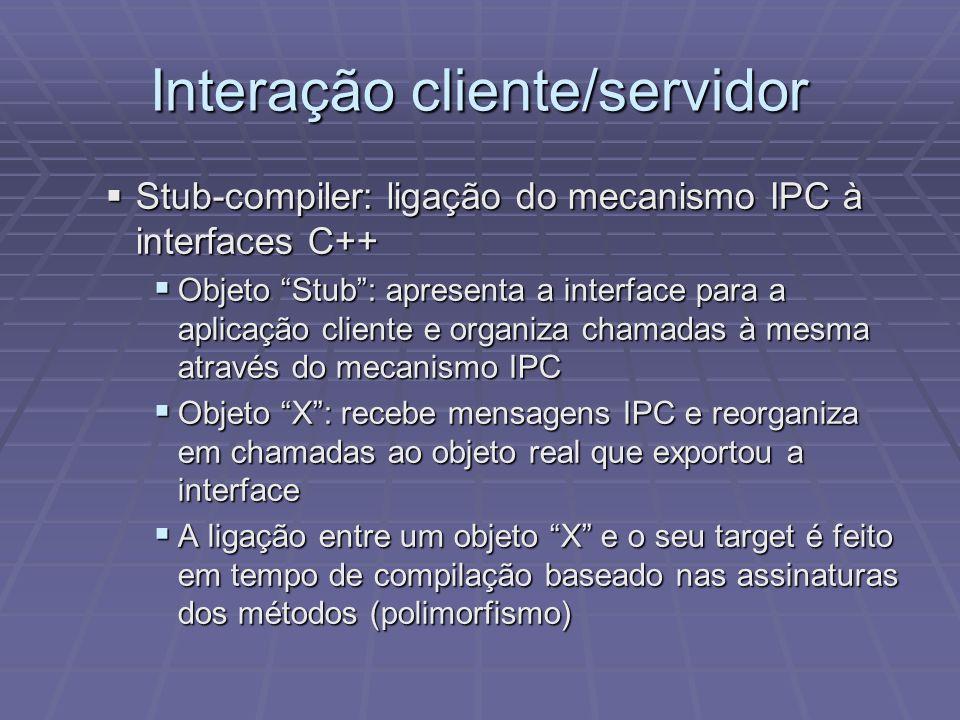 Interação cliente/servidor Stub-compiler: ligação do mecanismo IPC à interfaces C++ Stub-compiler: ligação do mecanismo IPC à interfaces C++ Objeto St