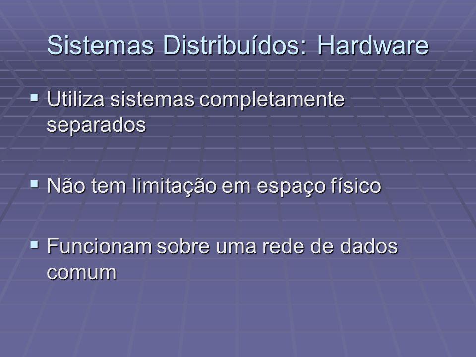 Sistemas Distribuídos: Hardware Utiliza sistemas completamente separados Utiliza sistemas completamente separados Não tem limitação em espaço físico N