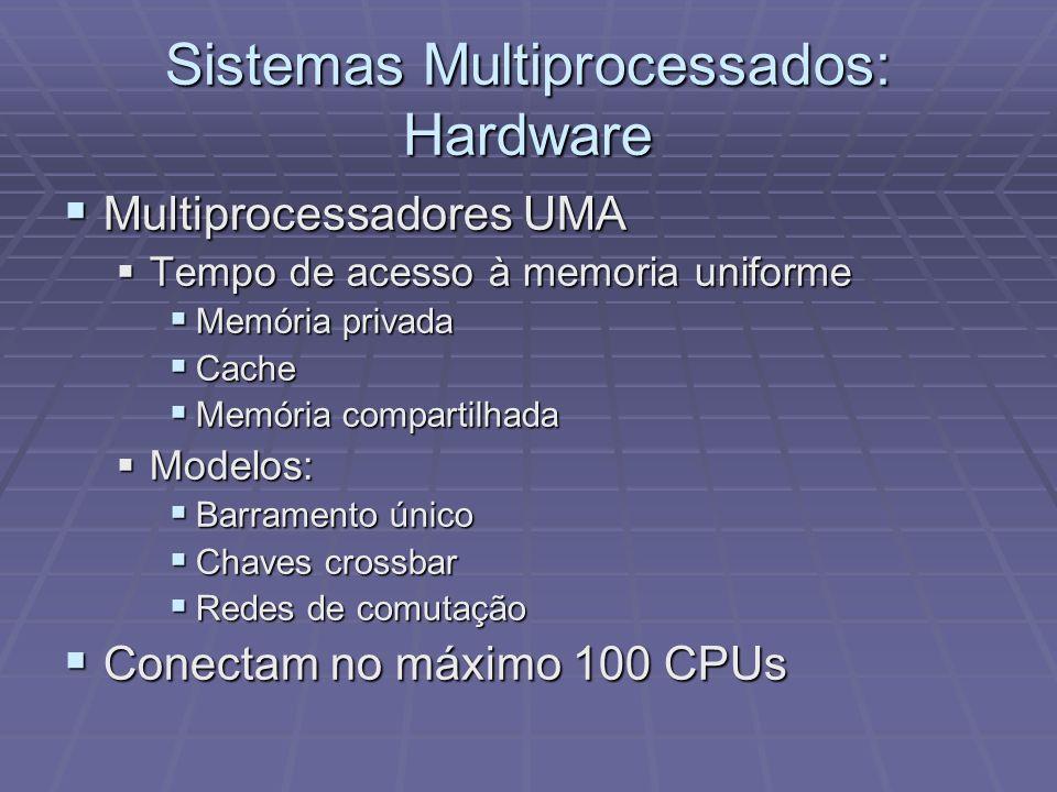 Sistemas Multiprocessados: Hardware Multiprocessadores UMA Multiprocessadores UMA Tempo de acesso à memoria uniforme Tempo de acesso à memoria uniform
