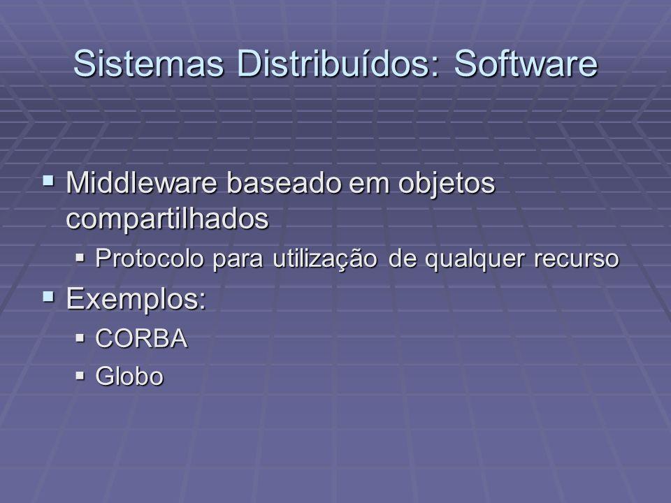 Sistemas Distribuídos: Software Middleware baseado em objetos compartilhados Middleware baseado em objetos compartilhados Protocolo para utilização de