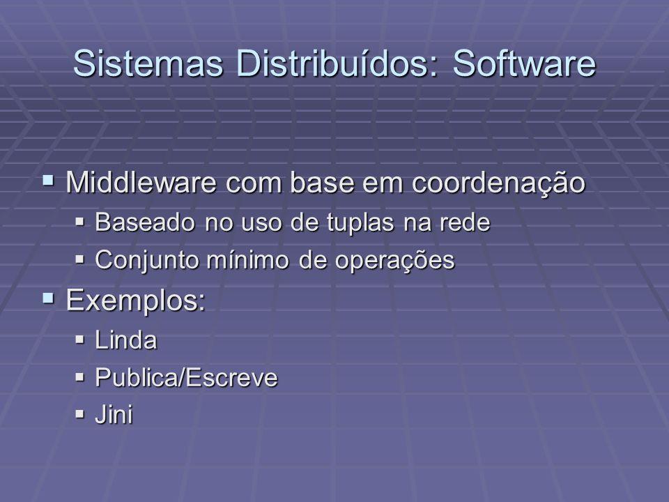 Sistemas Distribuídos: Software Middleware com base em coordenação Middleware com base em coordenação Baseado no uso de tuplas na rede Baseado no uso