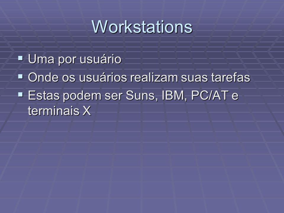 Workstations Uma por usuário Uma por usuário Onde os usuários realizam suas tarefas Onde os usuários realizam suas tarefas Estas podem ser Suns, IBM,