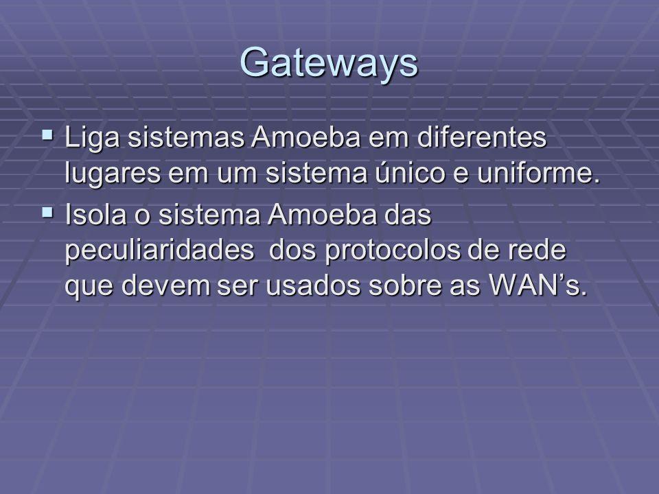 Gateways Liga sistemas Amoeba em diferentes lugares em um sistema único e uniforme. Liga sistemas Amoeba em diferentes lugares em um sistema único e u