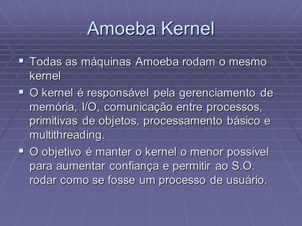 Amoeba Kernel Todas as máquinas Amoeba rodam o mesmo kernel Todas as máquinas Amoeba rodam o mesmo kernel O kernel é responsável pela gerenciamento de