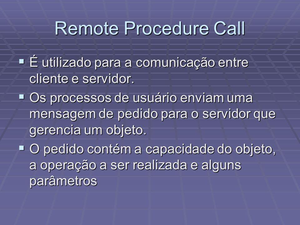 Remote Procedure Call É utilizado para a comunicação entre cliente e servidor. É utilizado para a comunicação entre cliente e servidor. Os processos d