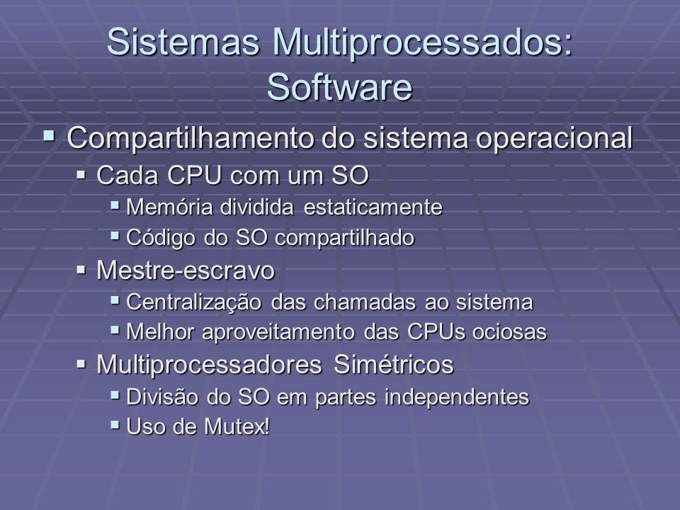 Sistemas Multiprocessados: Software Compartilhamento do sistema operacional Compartilhamento do sistema operacional Cada CPU com um SO Cada CPU com um