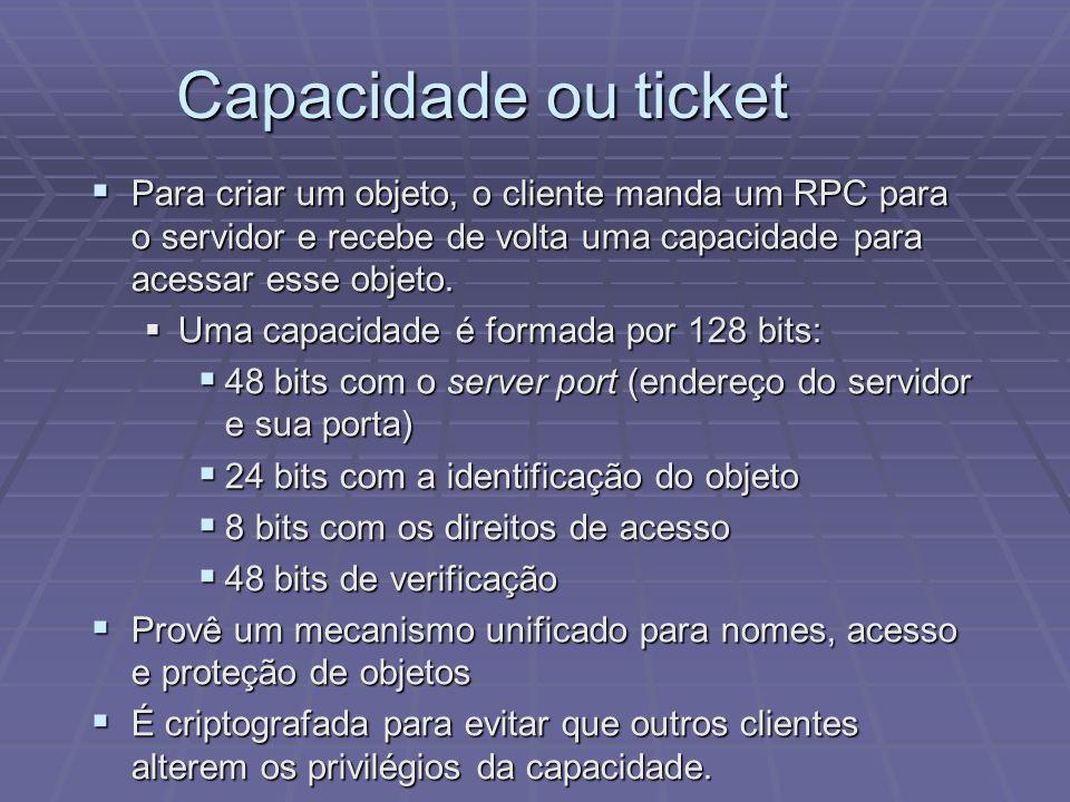 Capacidade ou ticket Para criar um objeto, o cliente manda um RPC para o servidor e recebe de volta uma capacidade para acessar esse objeto. Para cria