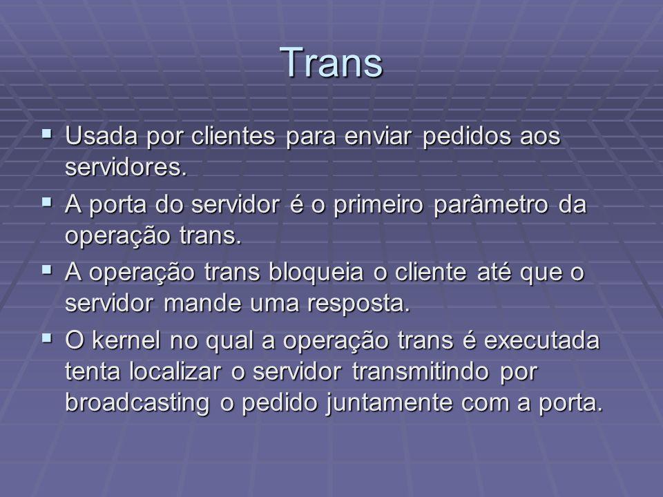 Trans Usada por clientes para enviar pedidos aos servidores. Usada por clientes para enviar pedidos aos servidores. A porta do servidor é o primeiro p