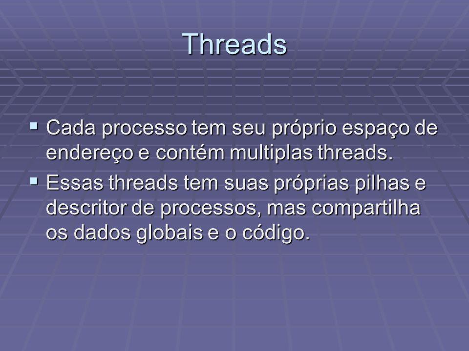 Threads Cada processo tem seu próprio espaço de endereço e contém multiplas threads. Cada processo tem seu próprio espaço de endereço e contém multipl