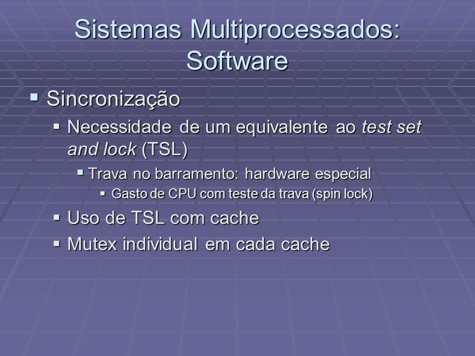 Sistemas Multiprocessados: Software Sincronização Sincronização Necessidade de um equivalente ao test set and lock (TSL) Necessidade de um equivalente