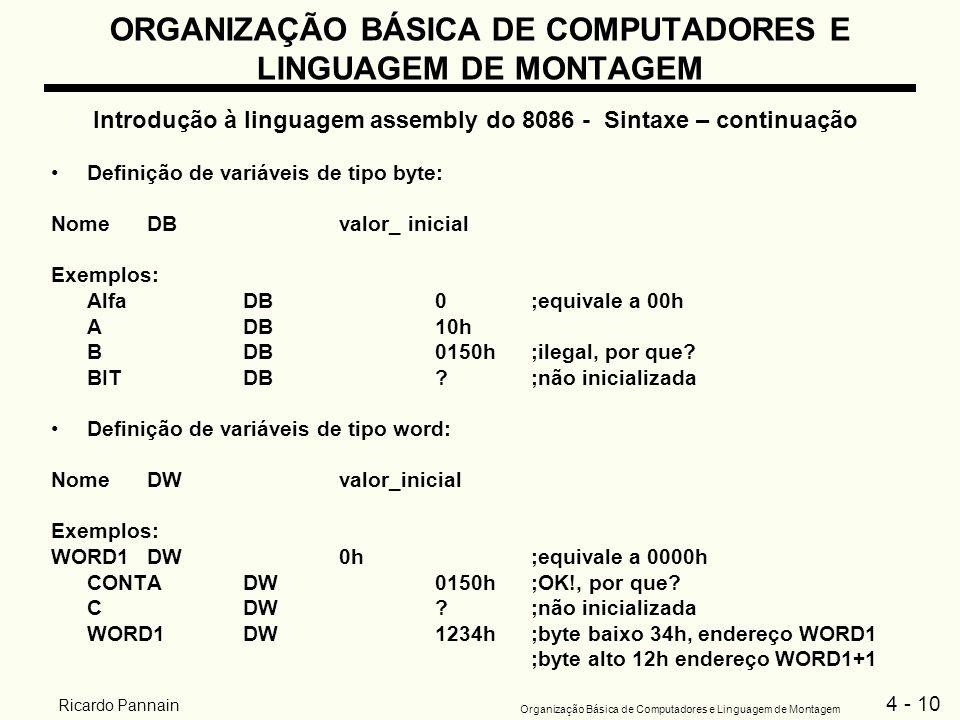 4 - 10 Organização Básica de Computadores e Linguagem de Montagem Ricardo Pannain ORGANIZAÇÃO BÁSICA DE COMPUTADORES E LINGUAGEM DE MONTAGEM Introduçã