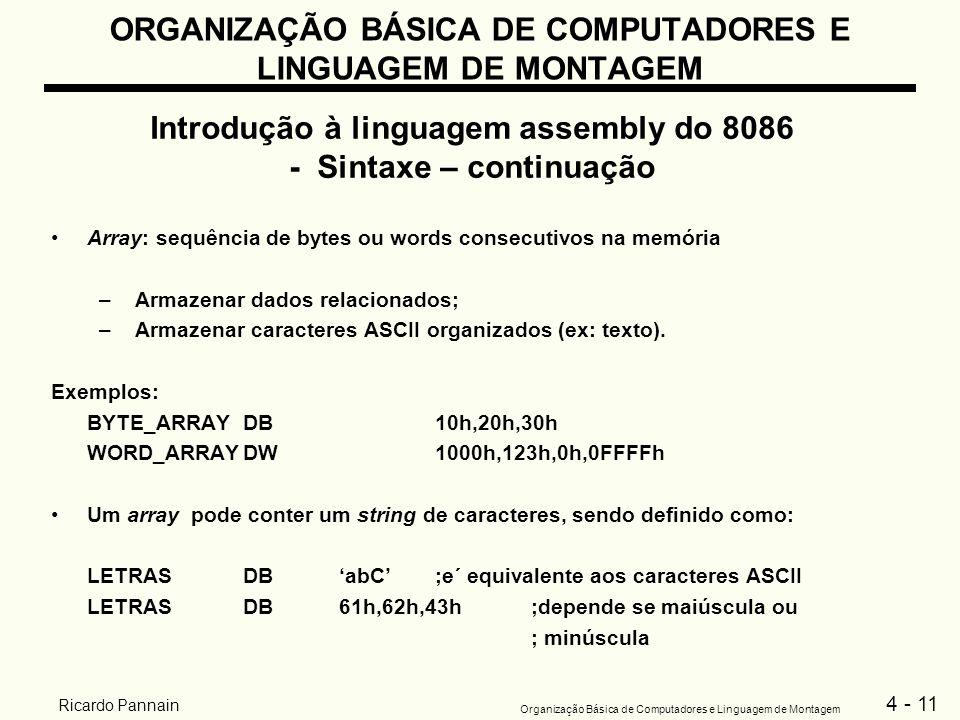 4 - 11 Organização Básica de Computadores e Linguagem de Montagem Ricardo Pannain ORGANIZAÇÃO BÁSICA DE COMPUTADORES E LINGUAGEM DE MONTAGEM Introduçã
