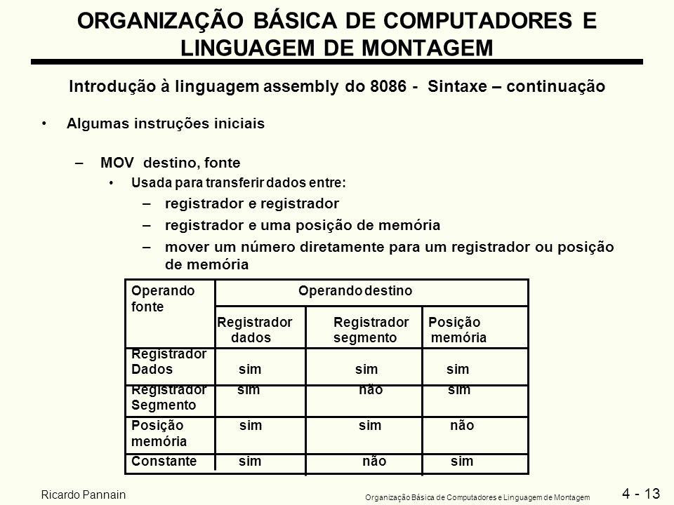 4 - 13 Organização Básica de Computadores e Linguagem de Montagem Ricardo Pannain ORGANIZAÇÃO BÁSICA DE COMPUTADORES E LINGUAGEM DE MONTAGEM Introduçã
