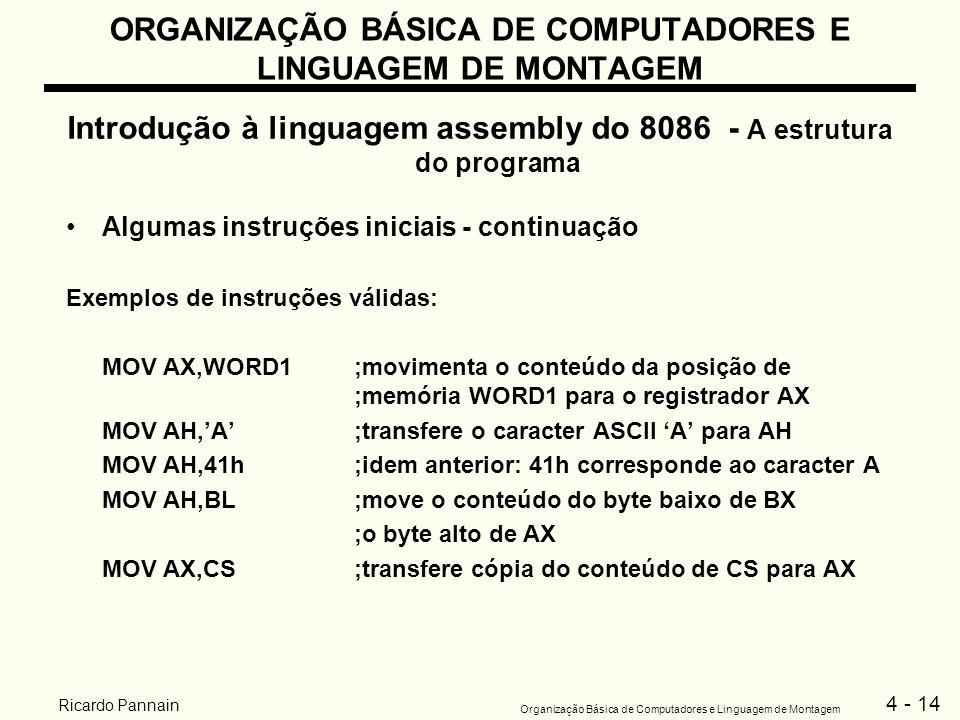 4 - 14 Organização Básica de Computadores e Linguagem de Montagem Ricardo Pannain ORGANIZAÇÃO BÁSICA DE COMPUTADORES E LINGUAGEM DE MONTAGEM Introduçã