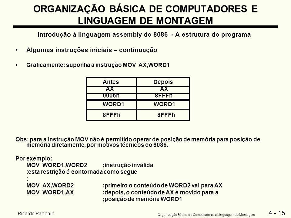 4 - 15 Organização Básica de Computadores e Linguagem de Montagem Ricardo Pannain ORGANIZAÇÃO BÁSICA DE COMPUTADORES E LINGUAGEM DE MONTAGEM Introduçã