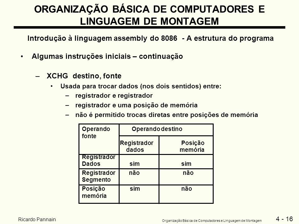 4 - 16 Organização Básica de Computadores e Linguagem de Montagem Ricardo Pannain ORGANIZAÇÃO BÁSICA DE COMPUTADORES E LINGUAGEM DE MONTAGEM Introduçã