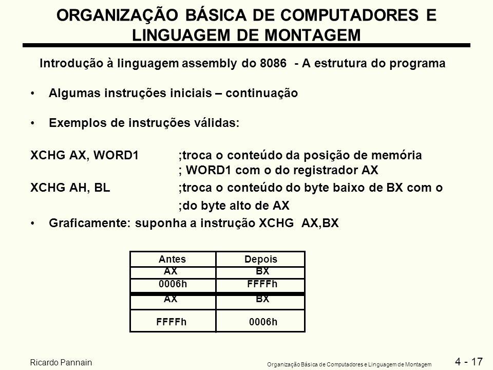 4 - 17 Organização Básica de Computadores e Linguagem de Montagem Ricardo Pannain ORGANIZAÇÃO BÁSICA DE COMPUTADORES E LINGUAGEM DE MONTAGEM Introduçã