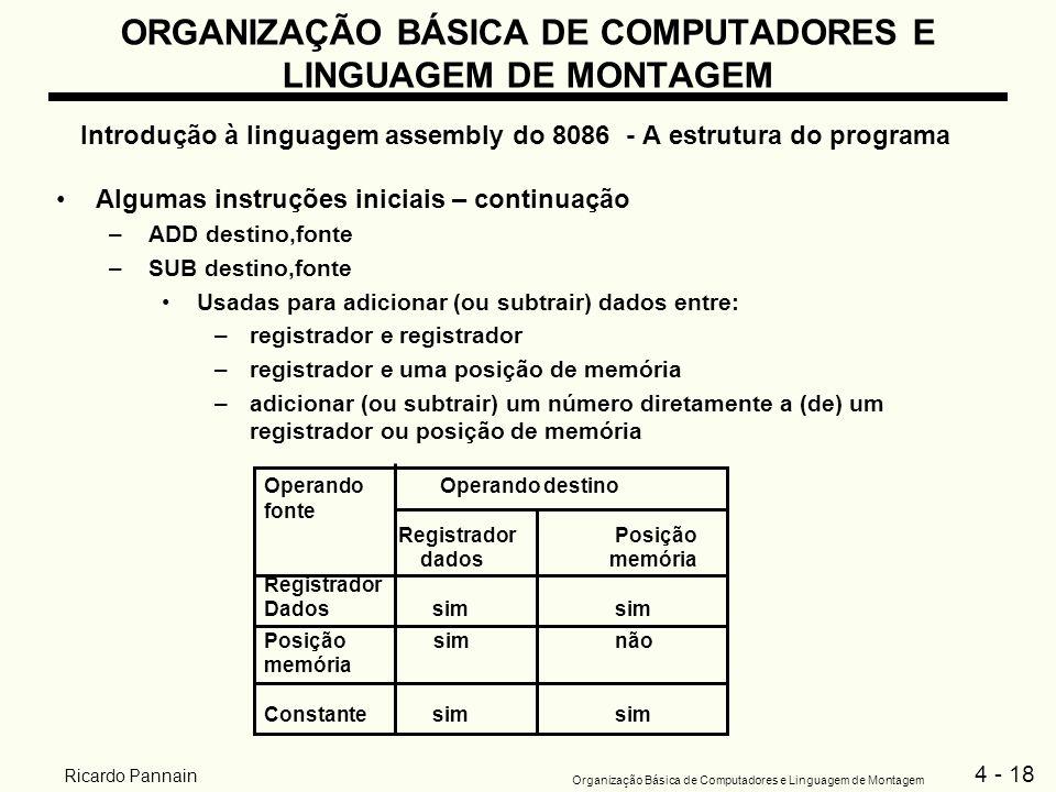 4 - 18 Organização Básica de Computadores e Linguagem de Montagem Ricardo Pannain ORGANIZAÇÃO BÁSICA DE COMPUTADORES E LINGUAGEM DE MONTAGEM Introduçã