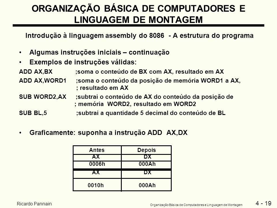 4 - 19 Organização Básica de Computadores e Linguagem de Montagem Ricardo Pannain ORGANIZAÇÃO BÁSICA DE COMPUTADORES E LINGUAGEM DE MONTAGEM Introduçã
