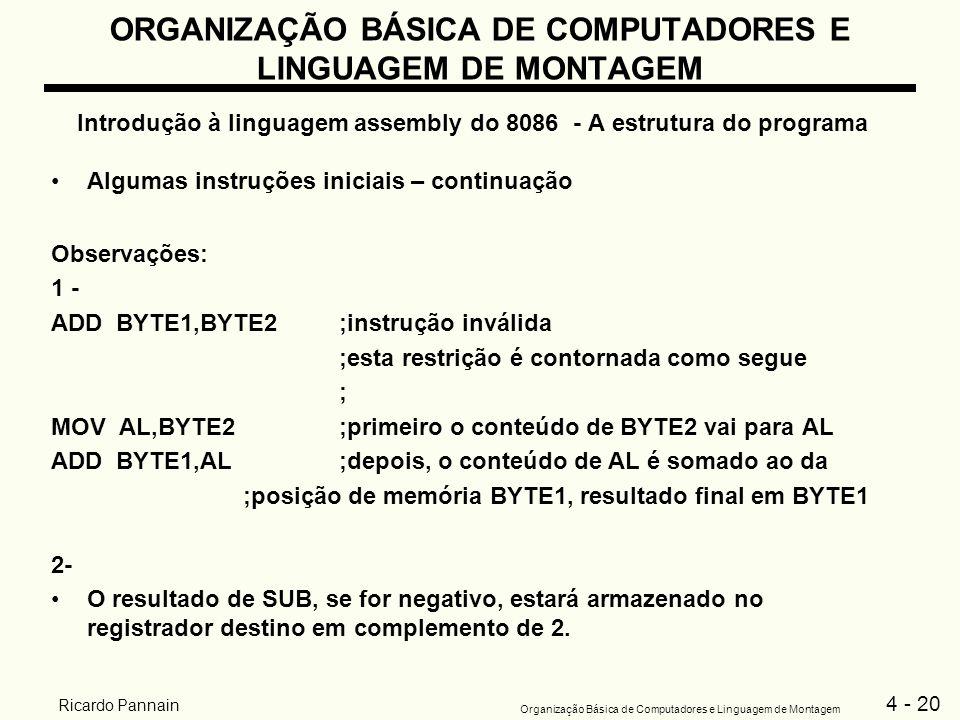 4 - 20 Organização Básica de Computadores e Linguagem de Montagem Ricardo Pannain ORGANIZAÇÃO BÁSICA DE COMPUTADORES E LINGUAGEM DE MONTAGEM Introduçã
