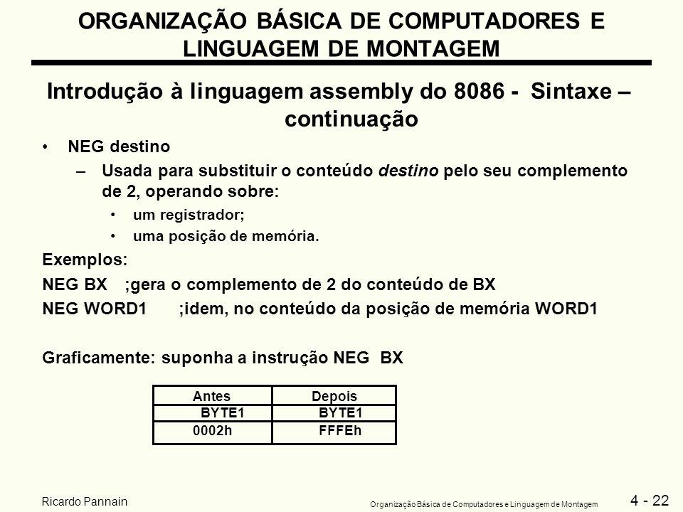 4 - 22 Organização Básica de Computadores e Linguagem de Montagem Ricardo Pannain ORGANIZAÇÃO BÁSICA DE COMPUTADORES E LINGUAGEM DE MONTAGEM Introduçã