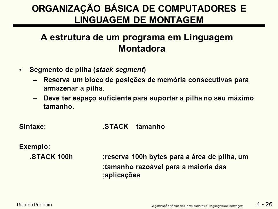 4 - 26 Organização Básica de Computadores e Linguagem de Montagem Ricardo Pannain ORGANIZAÇÃO BÁSICA DE COMPUTADORES E LINGUAGEM DE MONTAGEM A estrutu