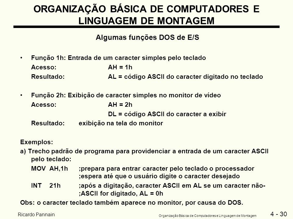 4 - 30 Organização Básica de Computadores e Linguagem de Montagem Ricardo Pannain ORGANIZAÇÃO BÁSICA DE COMPUTADORES E LINGUAGEM DE MONTAGEM Algumas f