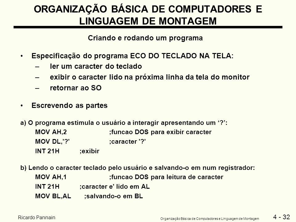 4 - 32 Organização Básica de Computadores e Linguagem de Montagem Ricardo Pannain ORGANIZAÇÃO BÁSICA DE COMPUTADORES E LINGUAGEM DE MONTAGEM Criando e