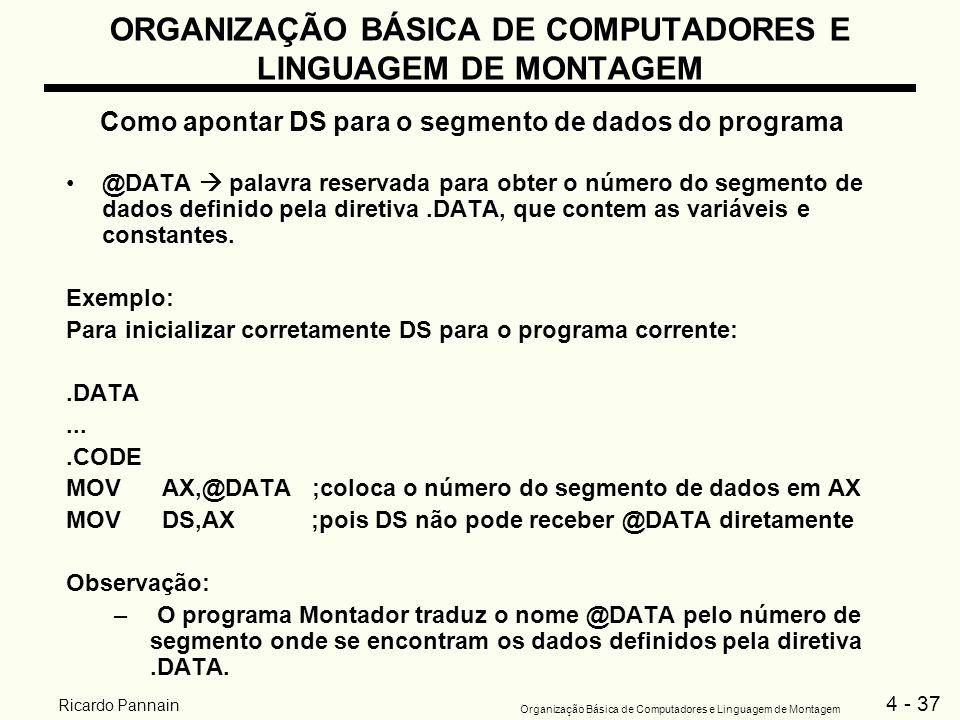 4 - 37 Organização Básica de Computadores e Linguagem de Montagem Ricardo Pannain ORGANIZAÇÃO BÁSICA DE COMPUTADORES E LINGUAGEM DE MONTAGEM Como apon