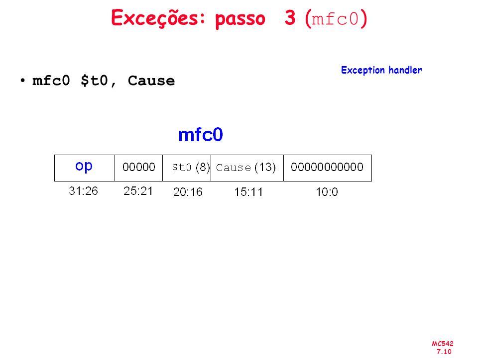 MC542 7.10 Exceções: passo 3 ( mfc0 ) mfc0 $t0, Cause Exception handler