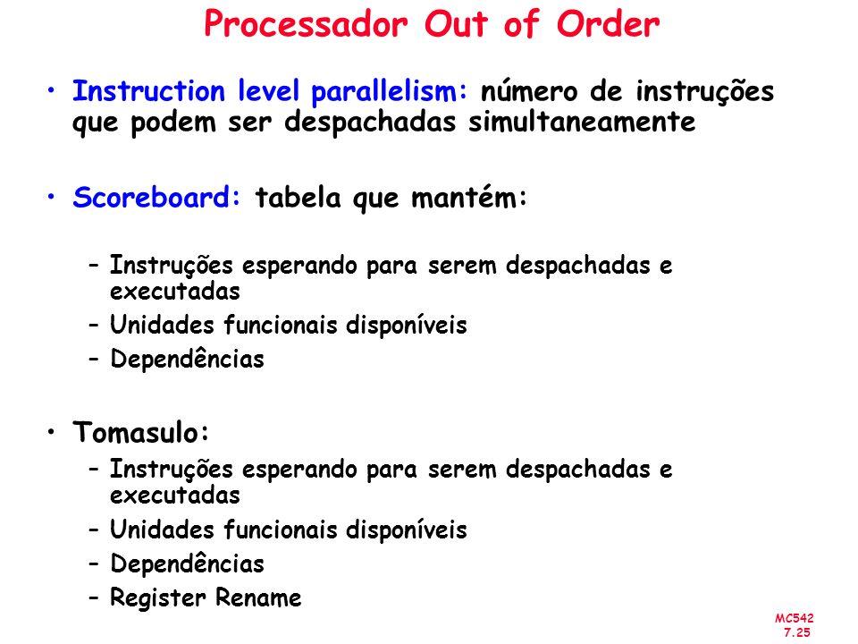 MC542 7.25 Processador Out of Order Instruction level parallelism: número de instruções que podem ser despachadas simultaneamente Scoreboard: tabela q