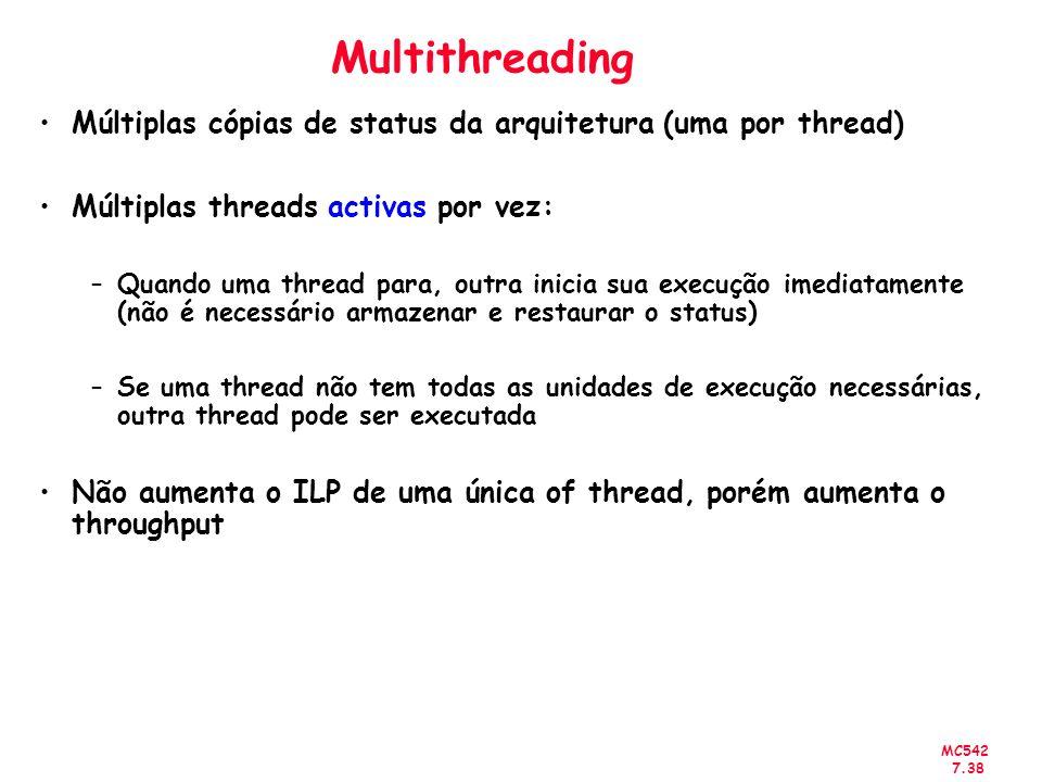 MC542 7.38 Multithreading Múltiplas cópias de status da arquitetura (uma por thread) Múltiplas threads activas por vez: –Quando uma thread para, outra