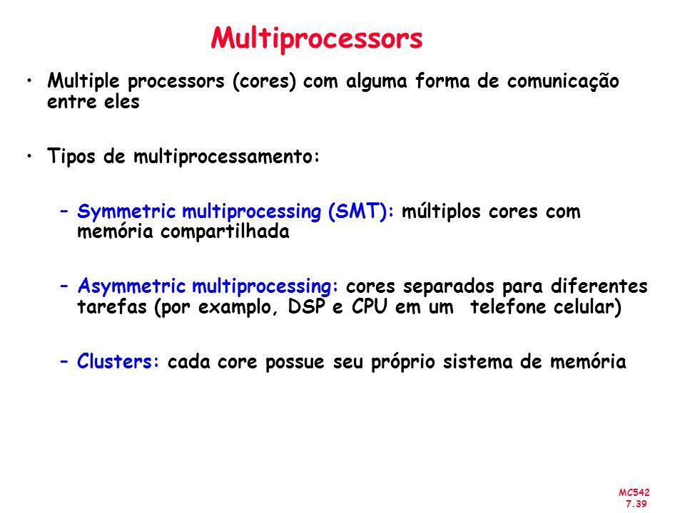 MC542 7.39 Multiprocessors Multiple processors (cores) com alguma forma de comunicação entre eles Tipos de multiprocessamento: –Symmetric multiprocess