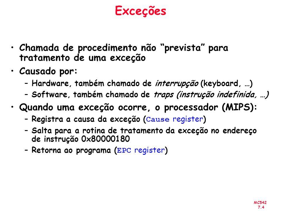 MC542 7.4 Exceções Chamada de procedimento não prevista para tratamento de uma exceção Causado por: –Hardware, também chamado de interrupção (keyboard