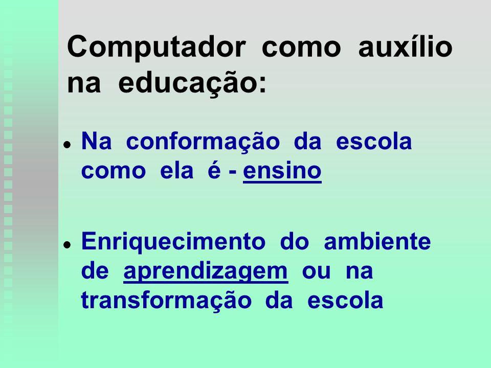 Computador como auxílio na educação: l l Na conformação da escola como ela é - ensino l l Enriquecimento do ambiente de aprendizagem ou na transformação da escola