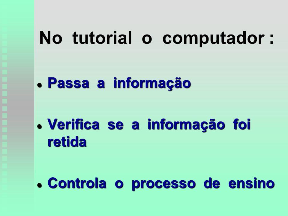 No tutorial o computador : l Passa a informação l Verifica se a informação foi retida l Controla o processo de ensino