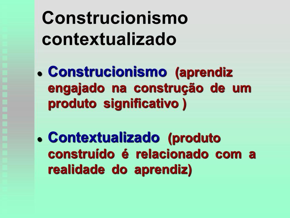 Construcionismo contextualizado l Construcionismo (aprendiz engajado na construção de um produto significativo ) l Contextualizado (produto construído é relacionado com a realidade do aprendiz)