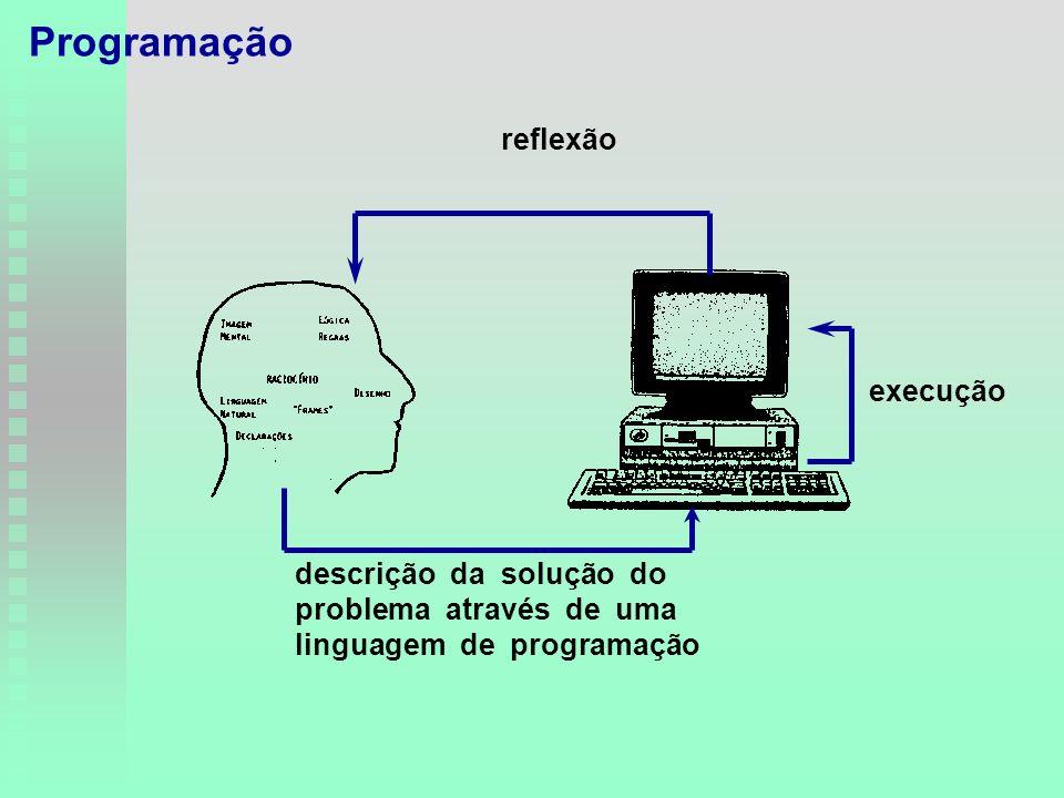 descrição da solução do problema através de uma linguagem de programação execução reflexão Programação