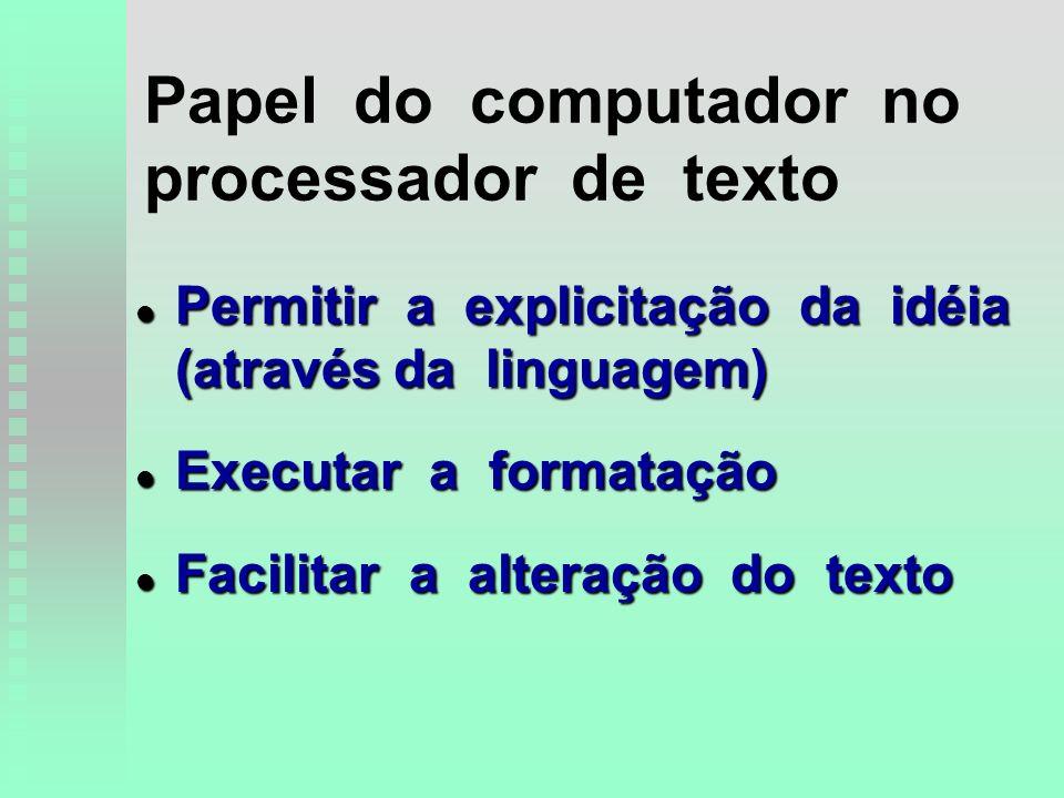 Papel do computador no processador de texto l Permitir a explicitação da idéia (através da linguagem) l Executar a formatação l Facilitar a alteração do texto