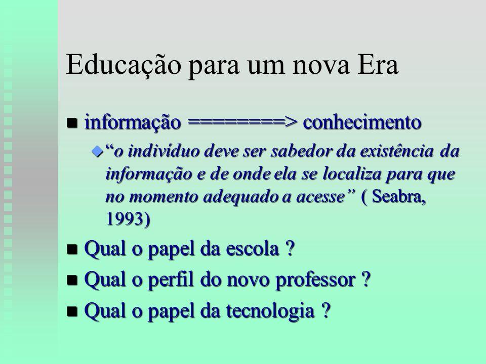 Educação para um nova Era n informação ========> conhecimento uo indivíduo deve ser sabedor da existência da informação e de onde ela se localiza para que no momento adequado a acesse ( Seabra, 1993) n Qual o papel da escola .