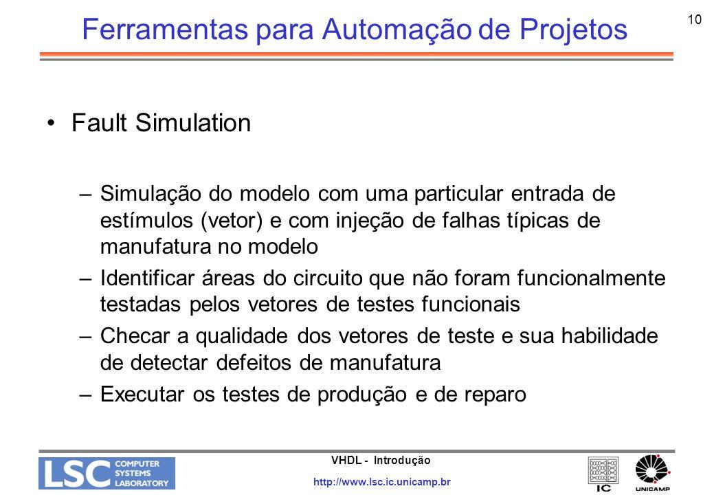 VHDL - Introdução http://www.lsc.ic.unicamp.br 10 Ferramentas para Automação de Projetos Fault Simulation –Simulação do modelo com uma particular entr