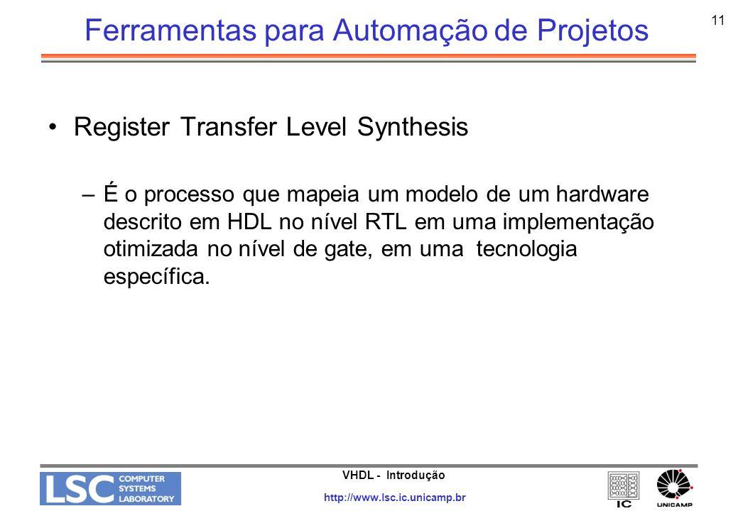 VHDL - Introdução http://www.lsc.ic.unicamp.br 11 Ferramentas para Automação de Projetos Register Transfer Level Synthesis –É o processo que mapeia um